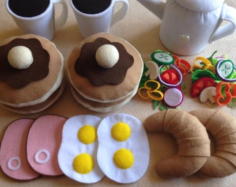 Felt food Pretend play food Breakfast set, Pancake,Egg & Ham,Coffee etc..