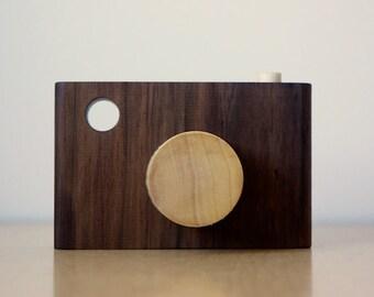 Walnut Toy Wood Camera
