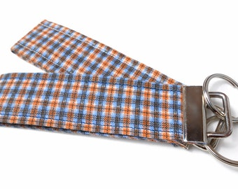 Two Wristlet Key Fobs, Each are 5 inch Blue and Orange Plaid