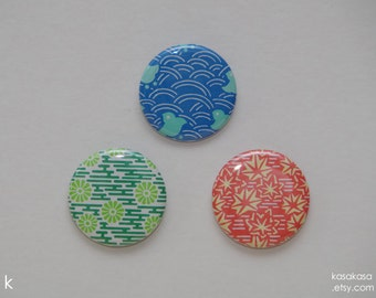 Nature Pattern Origami Button / Magnet Set of 3