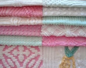 "10"" Chenille Quilting Squares Vintage Bedspread Fabric for Patchwork Quilt Kit #301 Pink Yellow Green White"