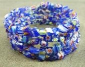 Flower Power - Blue Millefiori Glass Chip Memory Wire Bracelet