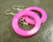 Hot Pink Mother Of Pearl Earrings Round Open Circle and Czech Glass