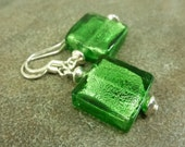 Emerald Green Foiled Glass Earrings