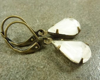 Earrings Antiqued Brass Ox with Vintage Clear White Givre Pear Faceted Czech Glass Jewels
