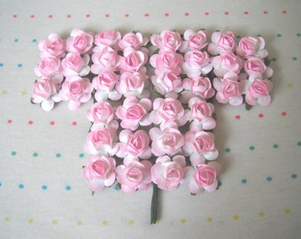 """Pink and White Paper Millinery Flowers, Small Sized Roses, 3/4"""" (36)"""