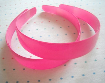 "Extra Wide Hot Pink Plastic Headbands, Headbands in Bulk, 1"" Wide (8)"