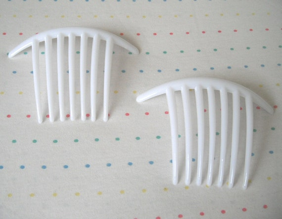 Long White Plastic Hair Combs (2)