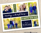 Traditional Holiday Card Five Picture Digital Design (5x7 or 6x7.5 costco) - Choose your greeting, colors to match