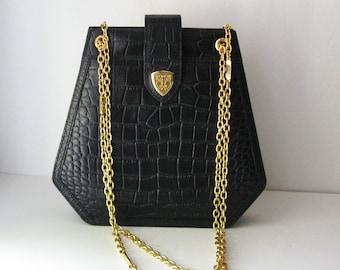 Black Leather Blaine Trump Bag, Faux Croc and Gold Chains