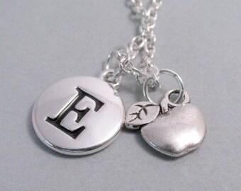 Apple Charm Teacher's Apple Charm Silver Plated Charm Jewelry Supplies