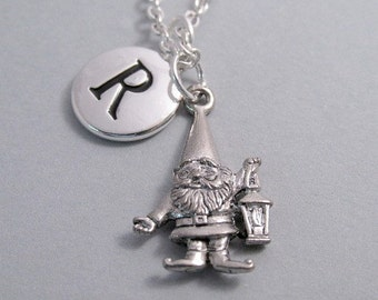 Gnome Charm Necklace, Keychain with Gnome, Silver Plated Charm, Initial Charm, Initial, Personalized, Monogram
