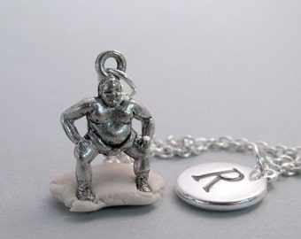 Japanese Sumo Wrestler Charm Necklace, Wrestler Keychain, Silver Plated Charm, Initial Charm, Personalized, Monogram