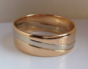 Wave Wedding Ring in 14k Yellow Gold and 14k White Gold, Handmade in Maine