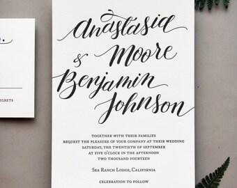 Letterpress Invitation - Letterpress Wedding Invitation Set - Custom Calligraphy - Fennel