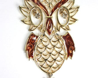 SALE 1970s Brown & Gold Owl Necklace