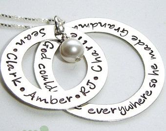 Grandma necklace - Personalized name charm - Women necklace -  Metal stamp - God couldn't be everywhere so he made grandma
