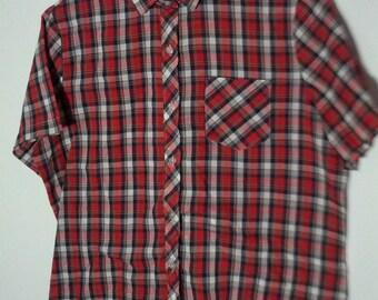 vintage grunge 80s 90s tartan  plaid cafe racer rockabilly shirt small medium men boho punk