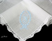 Wedding Handkerchief,  Personalized Handkerchief, Brides Something Blue Handkerchief