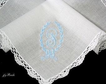 Brides Something Blue Handkerchief, Personalized Wedding Handkerchief, jfyBride