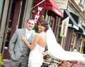 Single layer Waltz wedding veil white, diamond or ivory