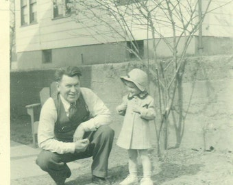 Happy Easter Grandpa Little Girl Happy Man Standing Outside Spring 1940s Vintage Black and White Photo Photograph