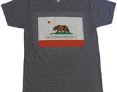 California Republic Bear Flag Graphic T shirt American Apparel XS   S   M    L  or  XL