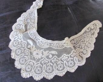 Beautiful Antique Tambour Lace Collar