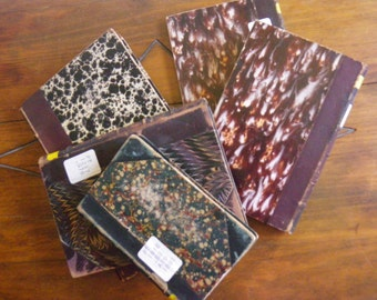 5 vintage books - marbled papers with leather - staging or craft