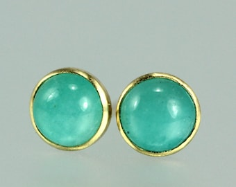 Gem Studs - Amazonite Studs - Turquoise Blue Gem Posts - Blue Gem 18 KT Gold Studs - Bezel Set Gem 18KT Gold  - Tiny Blue Gem Gold Studs