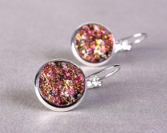 Silver plated pink and gold colors dangle drop earrings - Faux Druzy earrings - Textured earrings - Nickel Lead free (780)