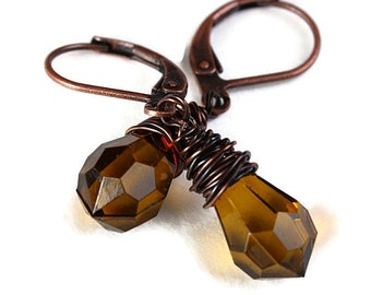 Smoky briolette and antique copper leverback earrings - Smokey briolette dangle earrings (217) - Flat rate shipping