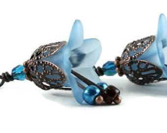 Blue lily flower and antique copper leverback earrings (161) - Flat rate shipping