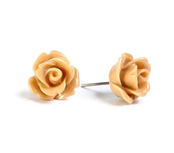 Sale Clearance 20% OFF - Beige brown rosebud flower surgical steel hypoallergenic stud earrings Ready to ship (439)
