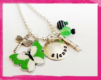 Personalized Jewelry - BUTTERFLY NECKLACE - Hand stamped Necklace for Girls #X501