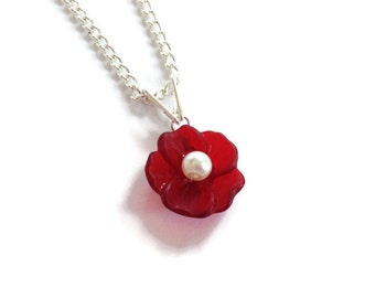 Red Lucite Poppy Flower Wire Wrapped Pendant - Custom Pearl Center and Free Silver Curb Chain