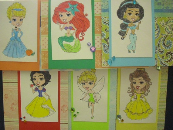 Set of 6 Disney Inspired Princesses Cards - you choose