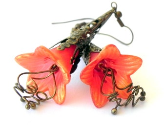 Dangle Orange and Gold Trumpet Flower Earrings - Brass Filigree Cone
