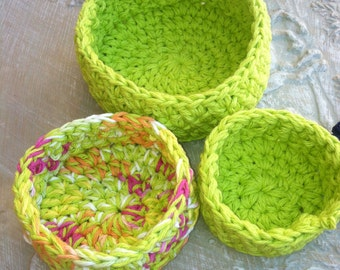 Nesting Bowls, Crochet bowls, Storage, Lime Green