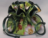 Butterfly Floral Garden Design--Drawstring Jewelry Tote Organizer Pouch--Medium Size