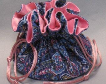 Pink & Blue Paisley Jewelry Travel Tote--Drawstring Organizer Pouch--Medium Size