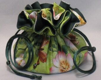 Butterfly Floral Garden Design--Drawstring Jewelry Tote Organizer Pouch--Medium Size