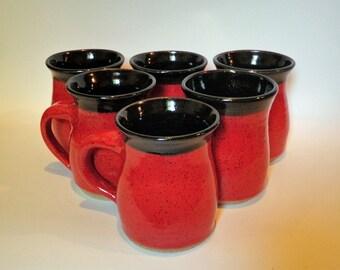 Red and Black Stoneware Mugs