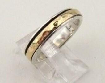 Jewela 9k Yellow Gold & Sterling Silver Swivel Band Ring size 8 (ir3a)
