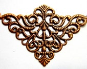 10 Filigree jewelry wraps antique copper medallion victorian style jewelry supply 75mm x 50mm S1380