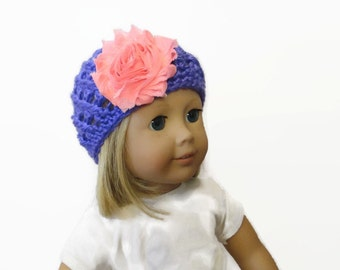 18 Inch Doll Hat Purple Pink Flower Crochet Accessories