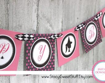 Halloween Birthday Banner, Pink-o-ween