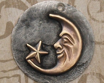 Rustic Soldered Moon with Face and Star Brass Pendant Bohemian Charm Brass Metalwork, Metalsmith, Mixed Metals
