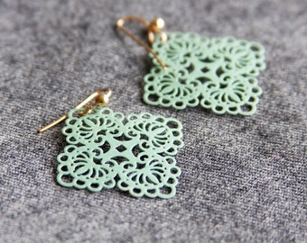 Mint Green Earrings, Filigree Earrings, Neo Vintage Jewelry