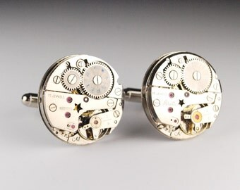 Steampunk Jewelry // Vintage Cufflinks // Aretta - Large - Watch Movements - Matched Pair - Unique Accessories by Steampunk Vintage Design